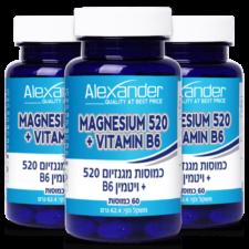 שלישייה מגנזיום 520 בתוספת ויטמין B6 אלכסנדר 180 כמוסות - תוקף08/21
